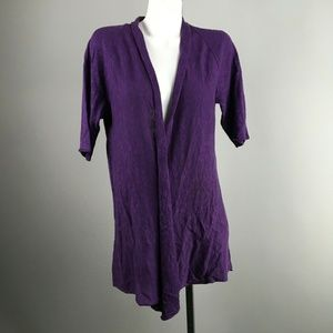 Eileen Fisher Purple Short Sleeve Open Cardigian